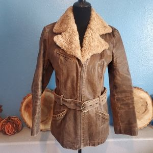 Winlet distressed genuine leather jacket size S